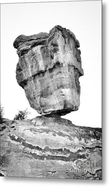 Balanced Rock In Black And White Metal Print