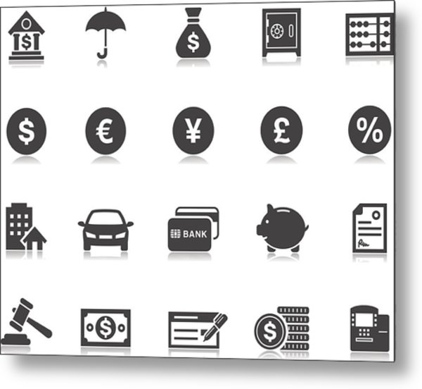 Banking & Finance Icons | Pictoria Series Metal Print by Runeer