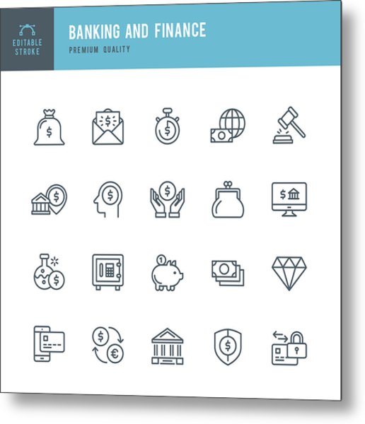 Banking And Finance  - Thin Line Icon Set Metal Print by Fonikum