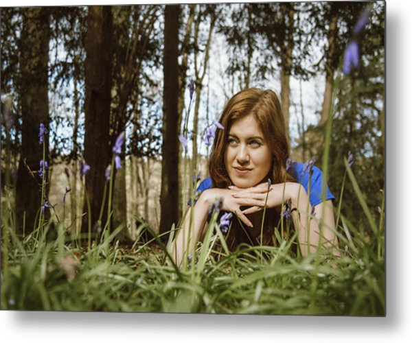 Beautiful Young Woman In The Woods Metal Print by Theasis