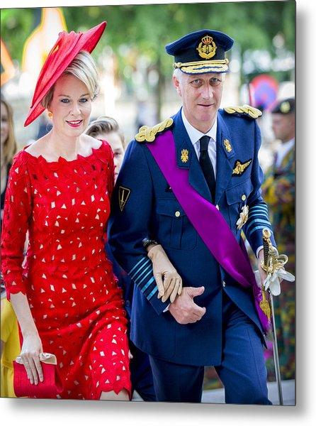 Belgian Royals Attend National Day Metal Print by Patrick van Katwijk
