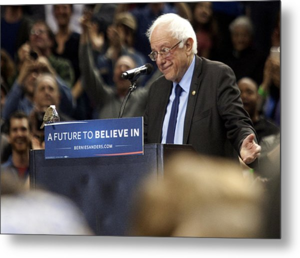 Bernie Sanders Holds Campaign Rally In Portland, Oregon Metal Print by Natalie Behring