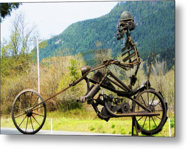 Biker Metal Print by Ron Roberts