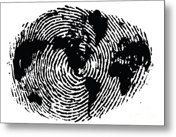 black and white ink print poster One of a Kind Global Fingerprint Metal Print