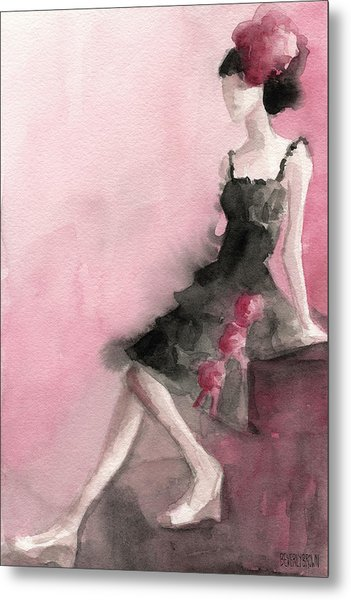 Black Ruffled Dress With Roses Fashion Illustration Art Print Metal Print