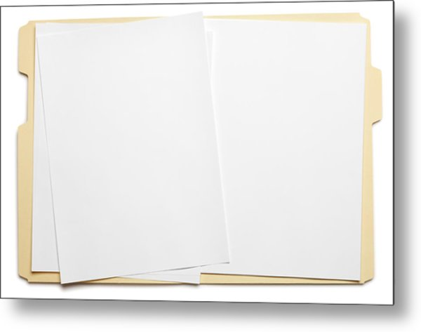 Blank Paper In An Open File Folder On White Background Metal Print by Dny59