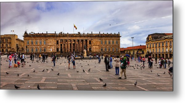 Bogota, Colombia: Parliament Building On Plaza Bolivar; Overcast Afternoon. Metal Print by Devasahayam Chandra Dhas