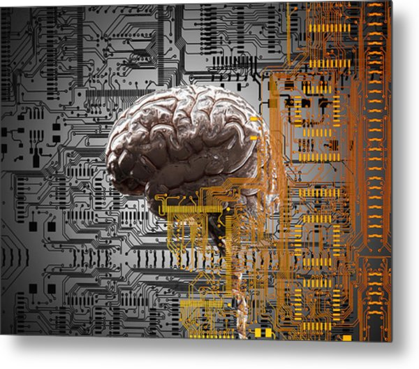 Brain Under Layers Of Circuit Board,  Metal Print by John M Lund Photography Inc