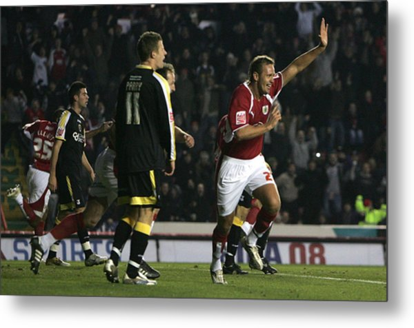 Bristol City V Cardiff City Metal Print by Christopher Lee
