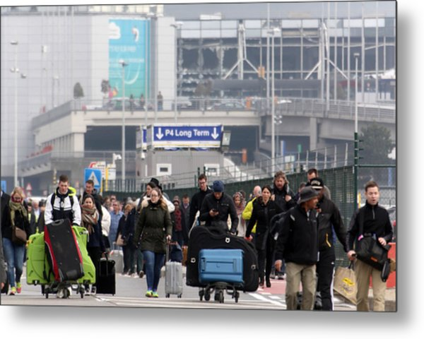 Brussels Airport And Metro Rocked By Explosions Metal Print by Sylvain Lefevre
