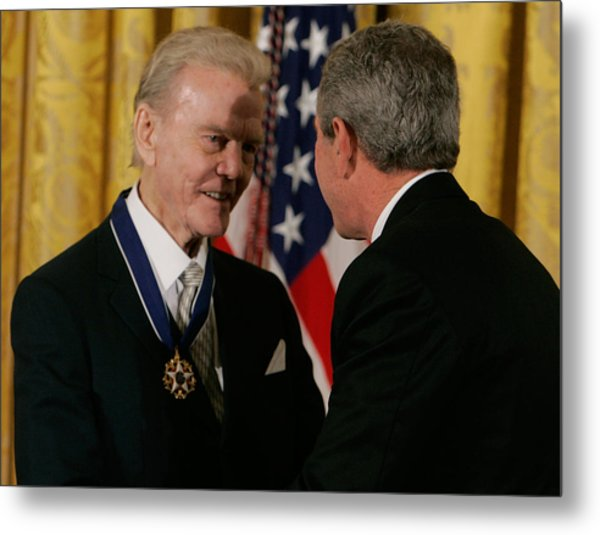 Bush Honors Presidential Medal Of Freedom Recipients Metal Print by Mark Wilson