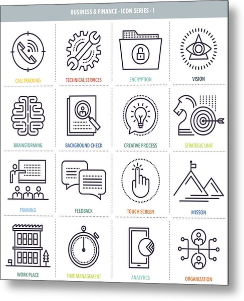Business And Finance Icon Set Metal Print by Ilyast