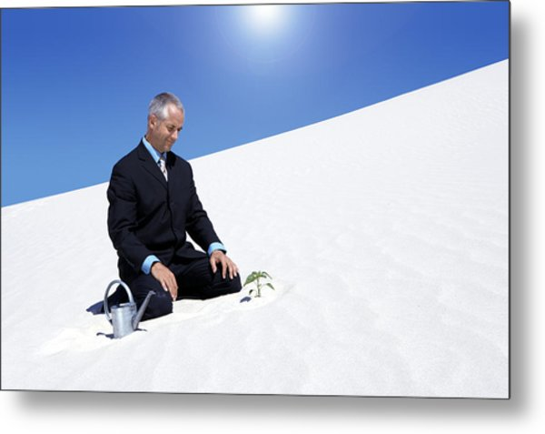 Businessman With A Watering Can Watching A Plant Planted In The Sand In A Desert Metal Print by John Cumming
