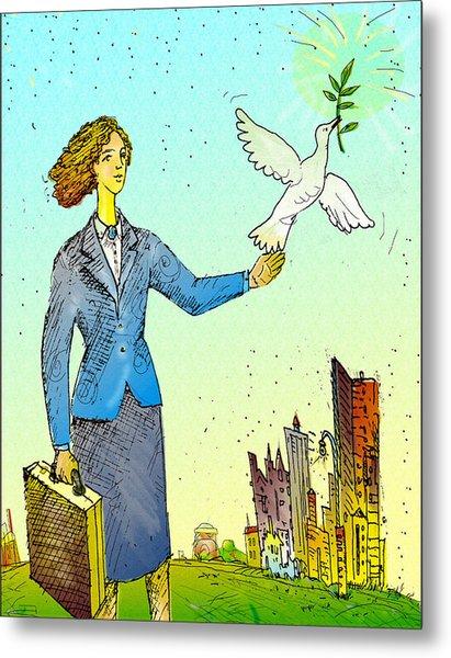 Businesswoman & Dove Metal Print by Vasily Kafanov