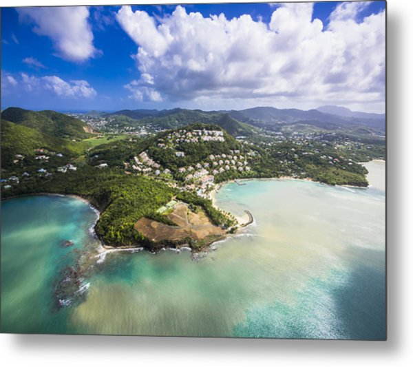 Caribbean, St. Lucia, Choc Bay, Aerial Photo Of Calabash Cove Resort Metal Print by Westend61