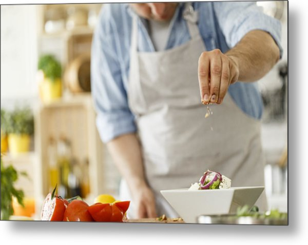 Chef Decorating A Plate With Healthy Salad Metal Print by Fotostorm