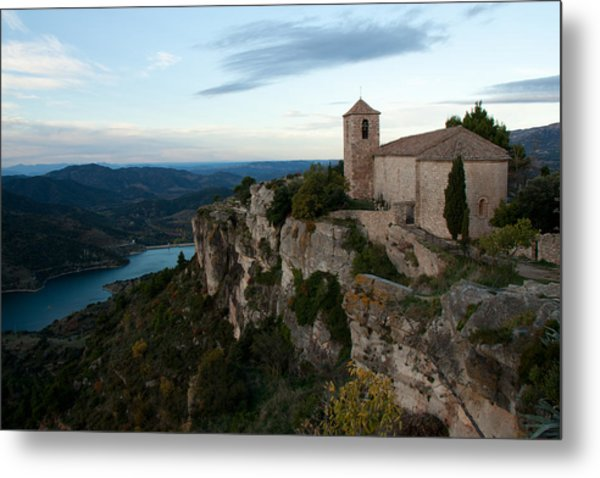 Church On Cliff By River Metal Print by David Oliete