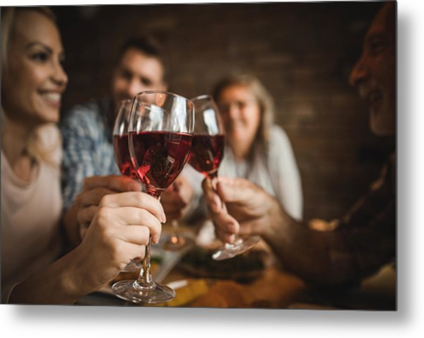 Close Up Of A Family Toasting With Red Wine At Home. Metal Print by Skynesher