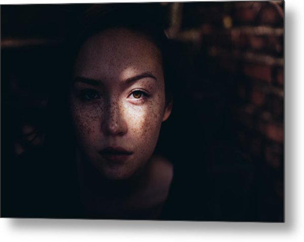 Close-up Portrait Of Woman Metal Print by Jonas Hafner / EyeEm