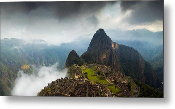 Clouds About To Envelop Machu Picchu Metal Print by Alison Buttigieg