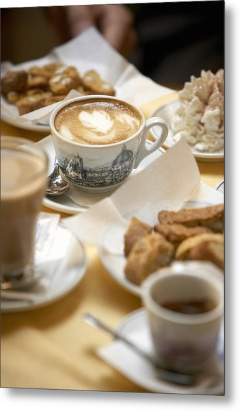 Coffee Drinks And Biscotti On Table In Cafe (focus On Cappuccino) Metal Print by Bob Handelman