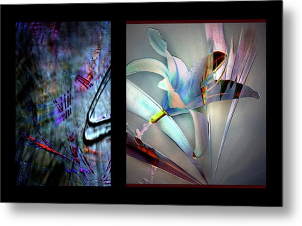Color Palete Of A Pink And Blue Lily Metal Print