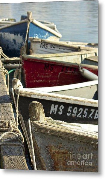 Colorful Boats At Dock Metal Print
