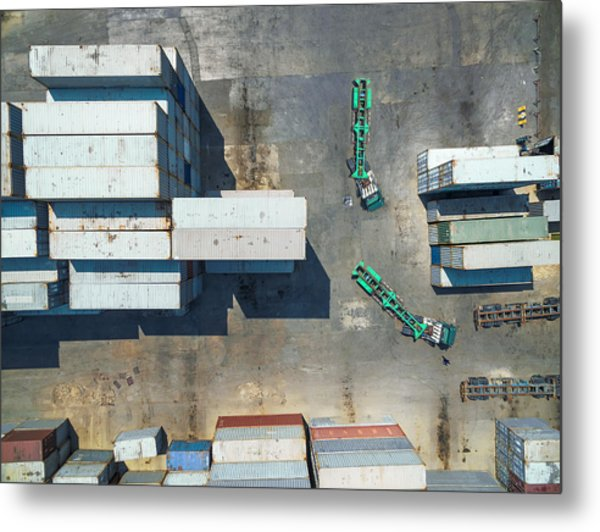 container truck Drive in Container storage . Metal Print by Anucha Sirivisansuwan