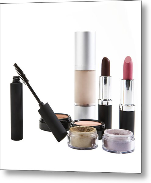 Cosmetics On White Background Metal Print by Thomas Northcut