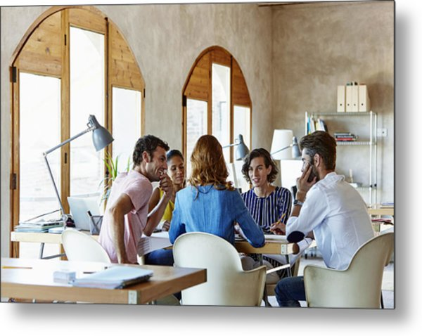 Creative Business People Discussing In Office Metal Print by Morsa Images