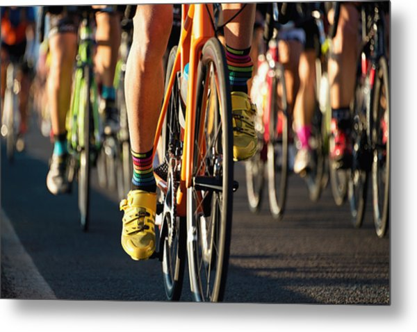 Cycling Competition,cyclist Athletes Riding A Race Metal Print by Pavel1964