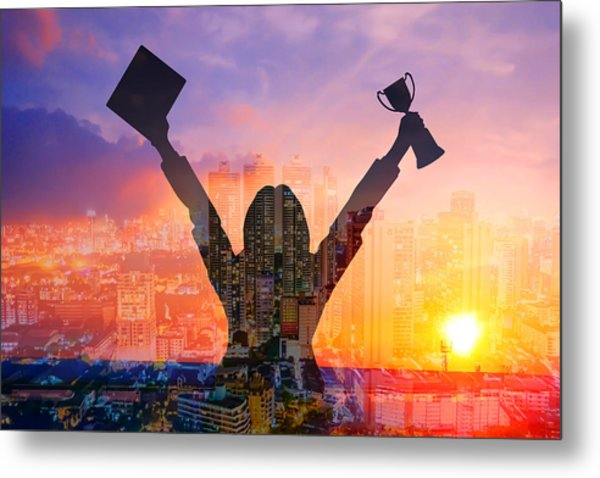 Digital Composite Image Of Woman Holding Award And Cityscape Against Sky During Sunset Metal Print by Jirapatch Iamkate / EyeEm