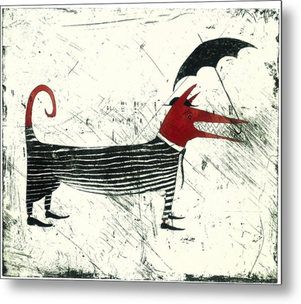 Dog Person With Umbrella Metal Print by Tim Southall