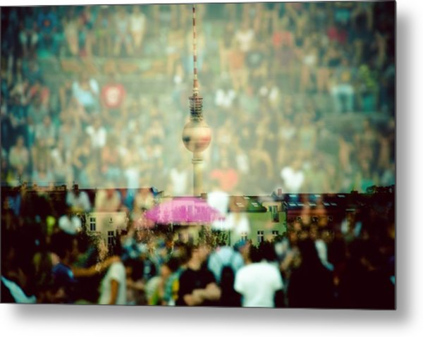 Double Exposure Of Crowd And Communications Tower Metal Print by Thorsten Gast / EyeEm