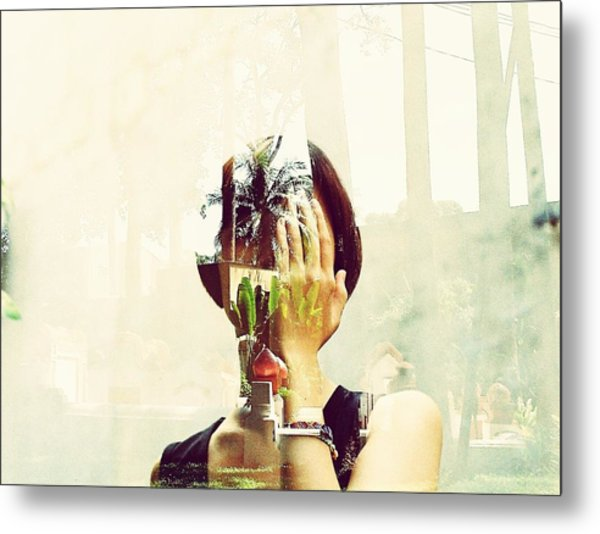 Double Exposure Of Woman And Trees With Reflection Metal Print by Quan Tran Minh / EyeEm