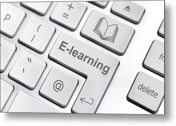 E-learning Keyboard Metal Print by Peter Dazeley