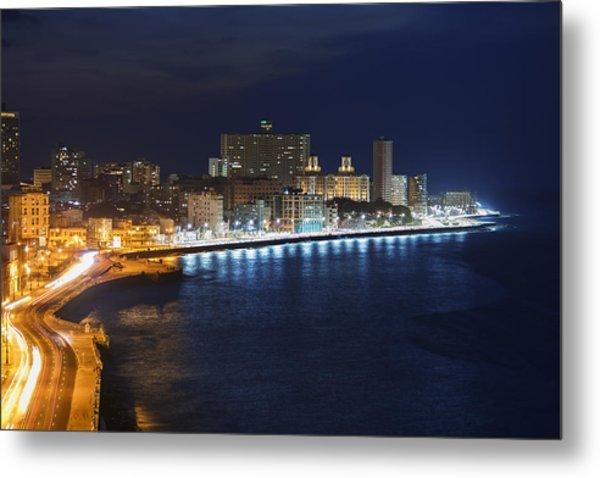 El Malecon, At Night, Havana, Cuba Metal Print by B&M Noskowski