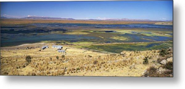 elevated view of Lake Titicaca, Peru, South America Metal Print by Gavin Hellier / robertharding