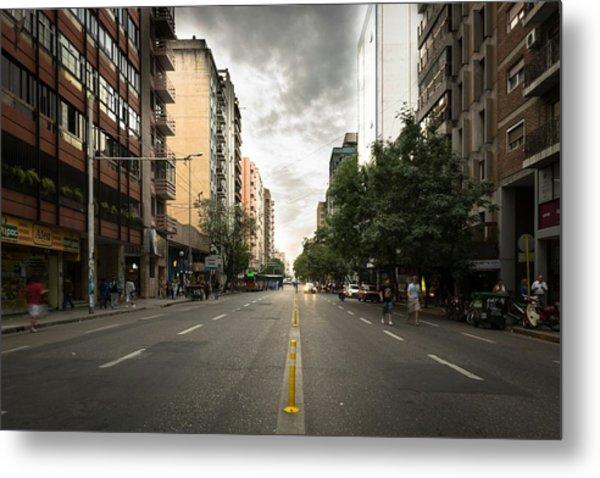 Empty Road Along Buildings Metal Print by Andres Ruffo / EyeEm