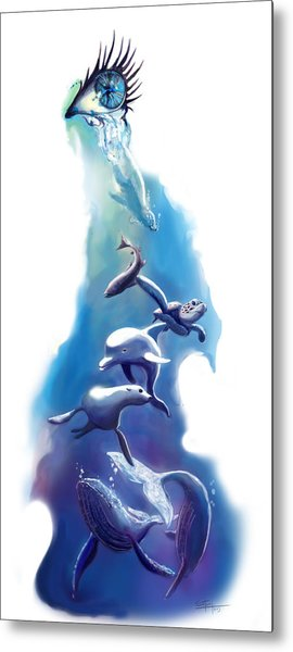 endangered sea life Water colour giclee print with eye and sea mammals Ocean Tears Metal Print