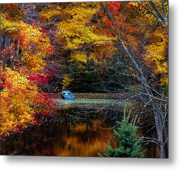 Fall Pond And Boat Metal Print