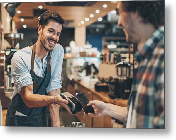 Fast And Easy Payment In The Coffee Shop Metal Print by Pixelfit