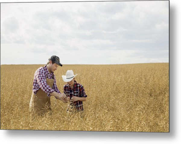 Father And Son Checking Wheat Crop Metal Print by Hero Images