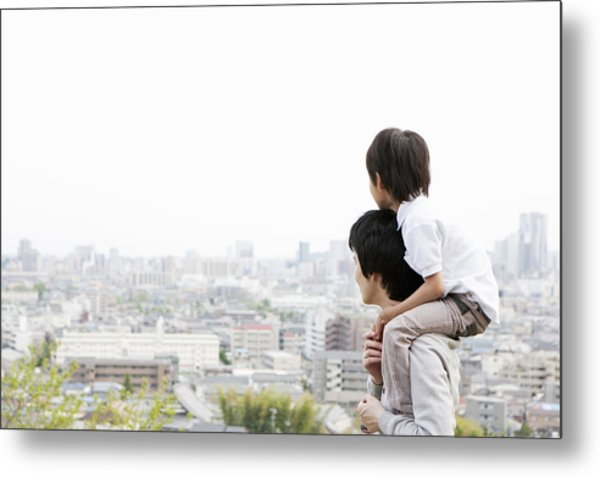 Father And Son On A Hill Metal Print by Kohei Hara
