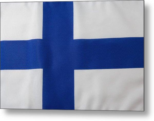 Finnish Flag Metal Print by Junior Gonzalez