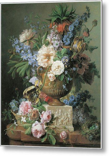 Flowers In An Alabaster Vase Metal Print by Gerard Van Spaendonck