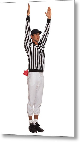 Football Referee Signaling Touchdown Metal Print by Comstock