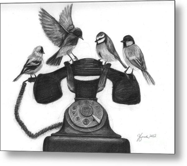 Four Calling Birds Metal Print