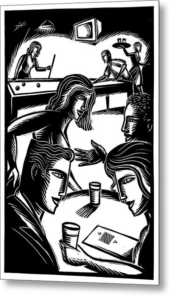Friends At Bar Metal Print by Jerry Nelson