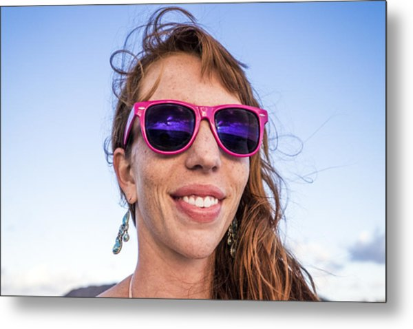 Girl Smiling With Pink Sunglasses Metal Print by Linka A Odom